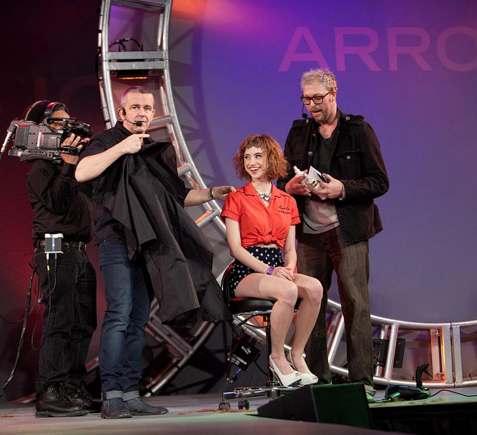 Stephen Adams teaching with Nick Arrojo in New York International Beauty Show.
