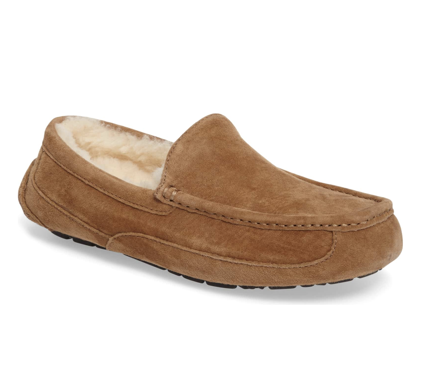 SLIPPERS - Give him the gift of comfort. These Uggs in Chestnut are a classic for $110.