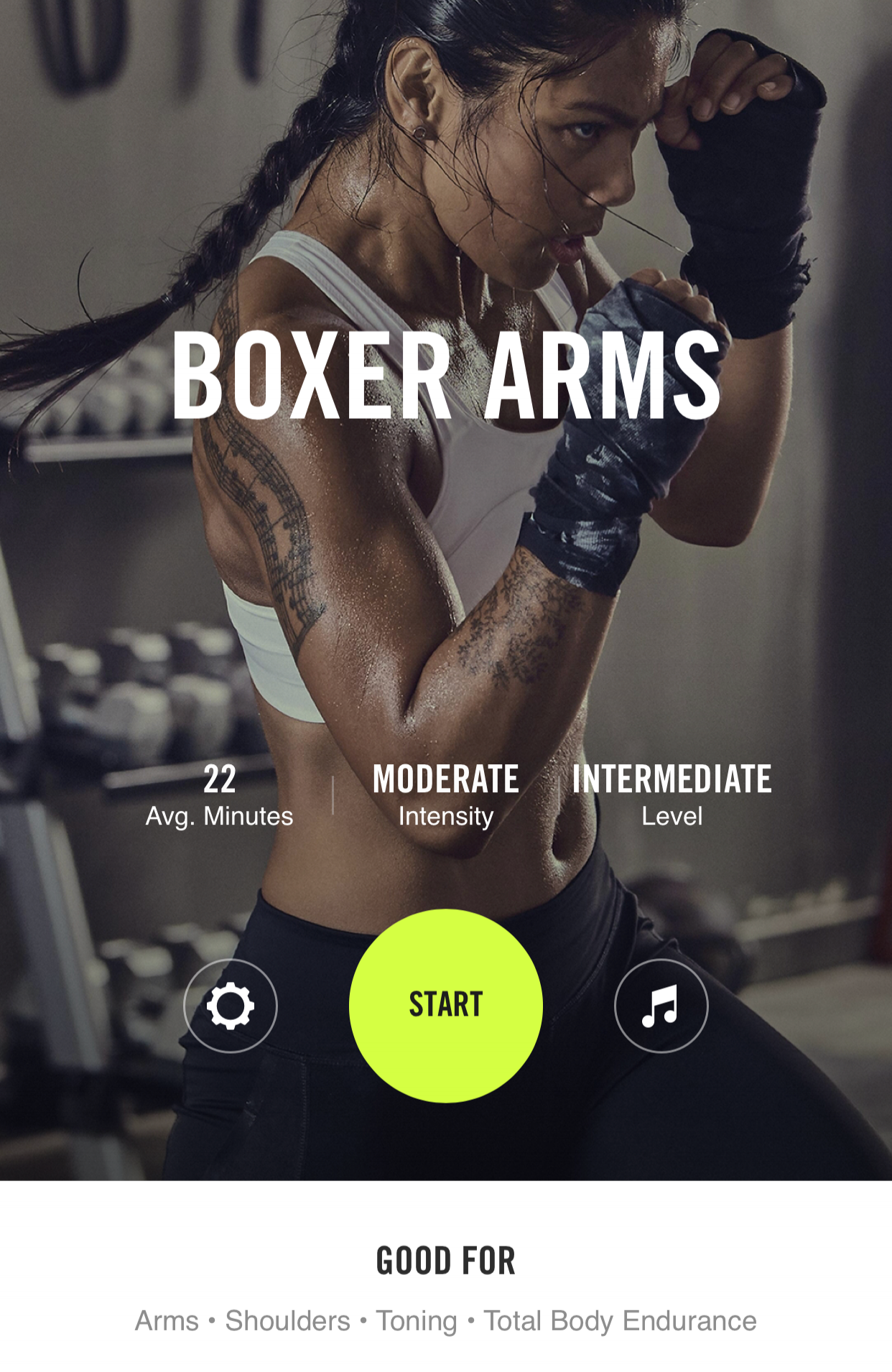 BOXER ARMS - Perfect for arms & shoulders and overall toning & endurance. 22 minutes of straight sweat that will leave you feeling like you just got out of the ring; ready for anything. This is a good one to pair with the boxer core if you are feeling ambitious that will strengthen your core + abs.