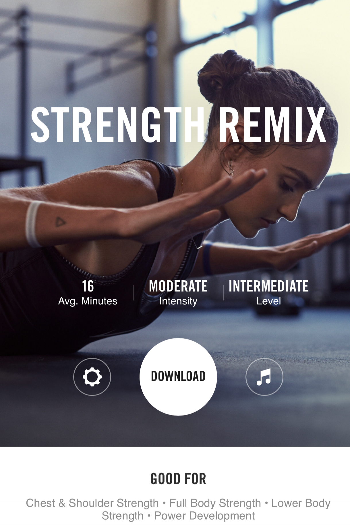 STRENGTH REMIX - A quick, full body, 16 minute workout that you don't need any equipment for. This one is a power boost that will work your full body and focus on your strength.