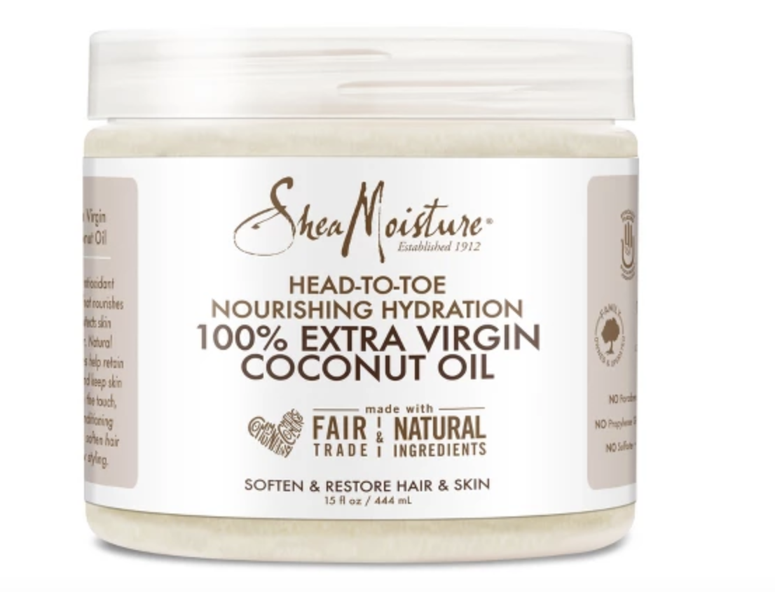 COCONUT OIL - The ultimate moisture and hydration oil. All natural. Get this Shea Moisture one at Amazon for $9.
