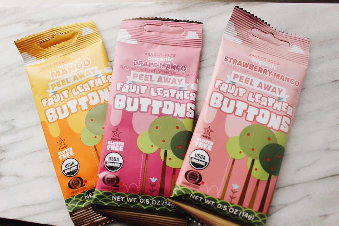 Fruit Leather Buttons - Matt's Munchies were an early favorite of Duvei years ago, but Trader Joe's just made a similar version and they're so delicious (and less expensive). Again, a great way to add more fruit to your lifestyle.