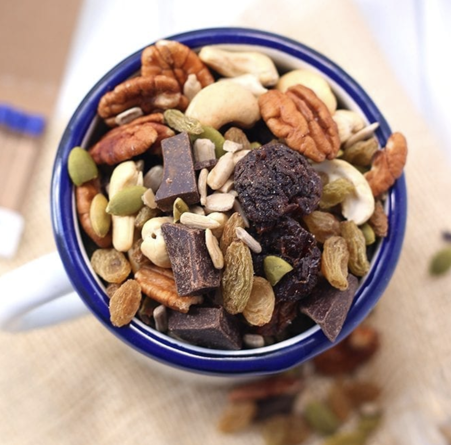 TRAIL MIX - Create your own or pick up a healthy mix at the store. Be sure to check the ingredients to ensure they are clean. You can also make trail mix cookies like these ones.