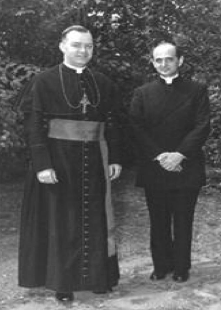 Msgr. Walter Carroll with Msgr. Giovanni Battista Montini (Future Pope Paul VI)