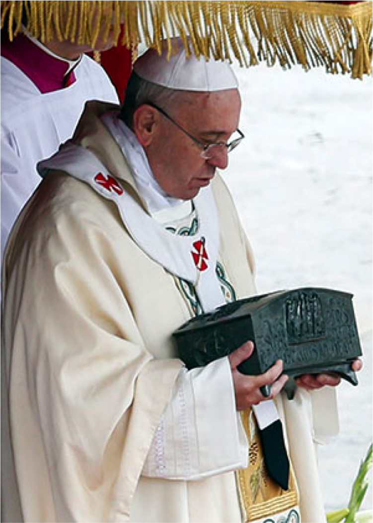 Pope Holds Reliquary Containing Relics of the Apostle St. Peter During Mass in St. Peter's Square at Vatican, November 21, 2013