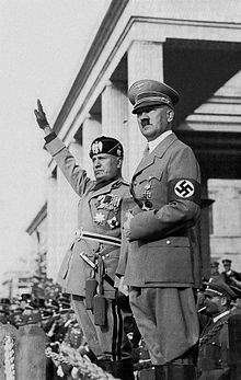 Benito Mussolini with Adolph Hitler in Rome, 1938