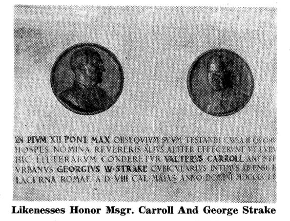 Memorials to Msgr. Walter Carroll and George Strake at St. Philip Neri