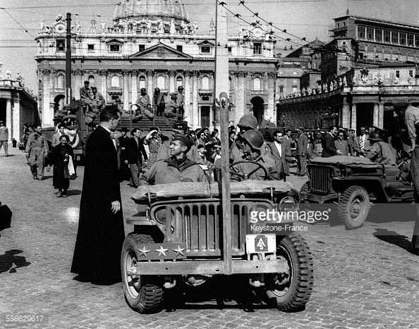 Msgr. Walter Carroll with Gen. Mark Clark Entering Rome to Receive Surrender of the City, June 4, 1944