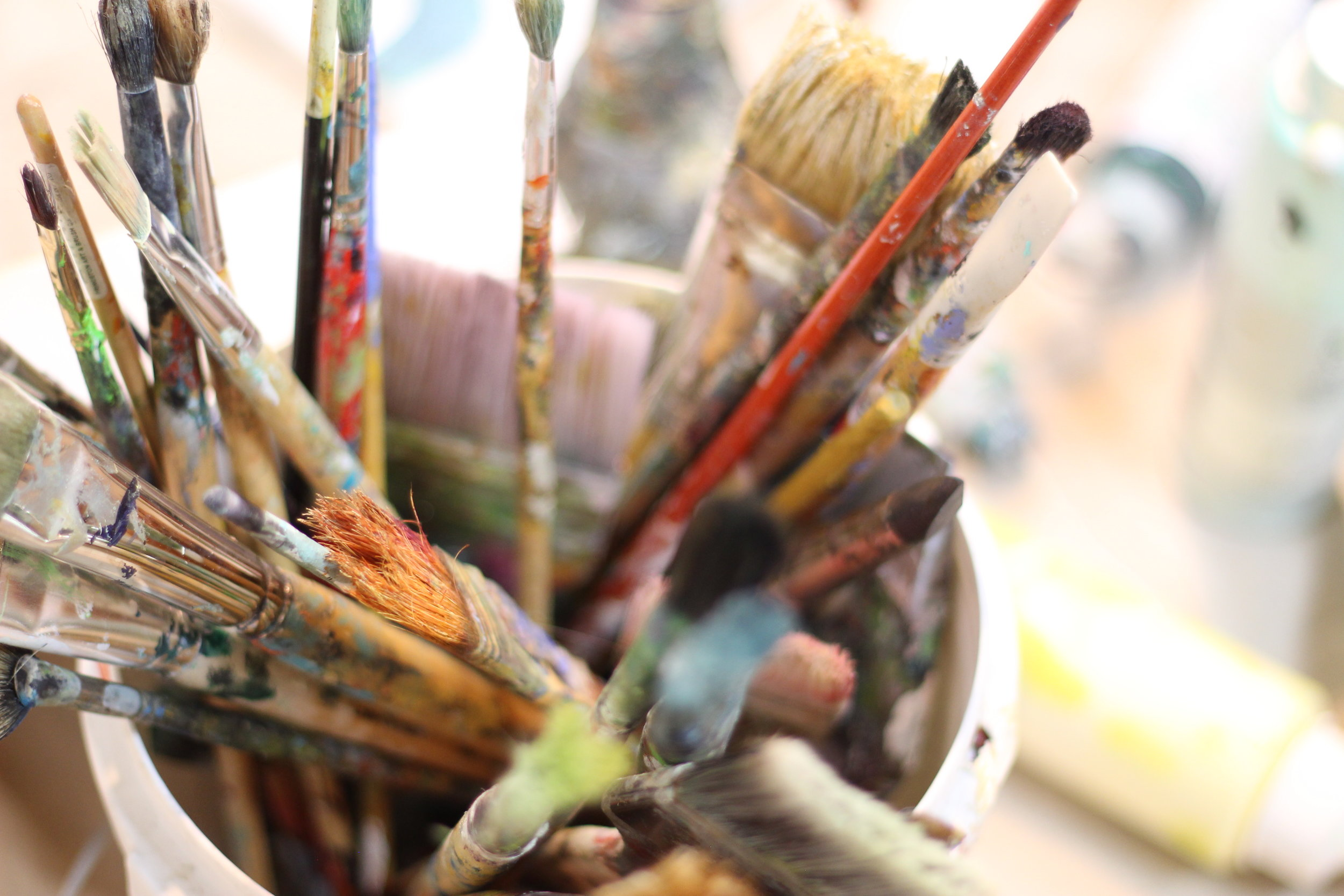 well loved brushes in the studio....