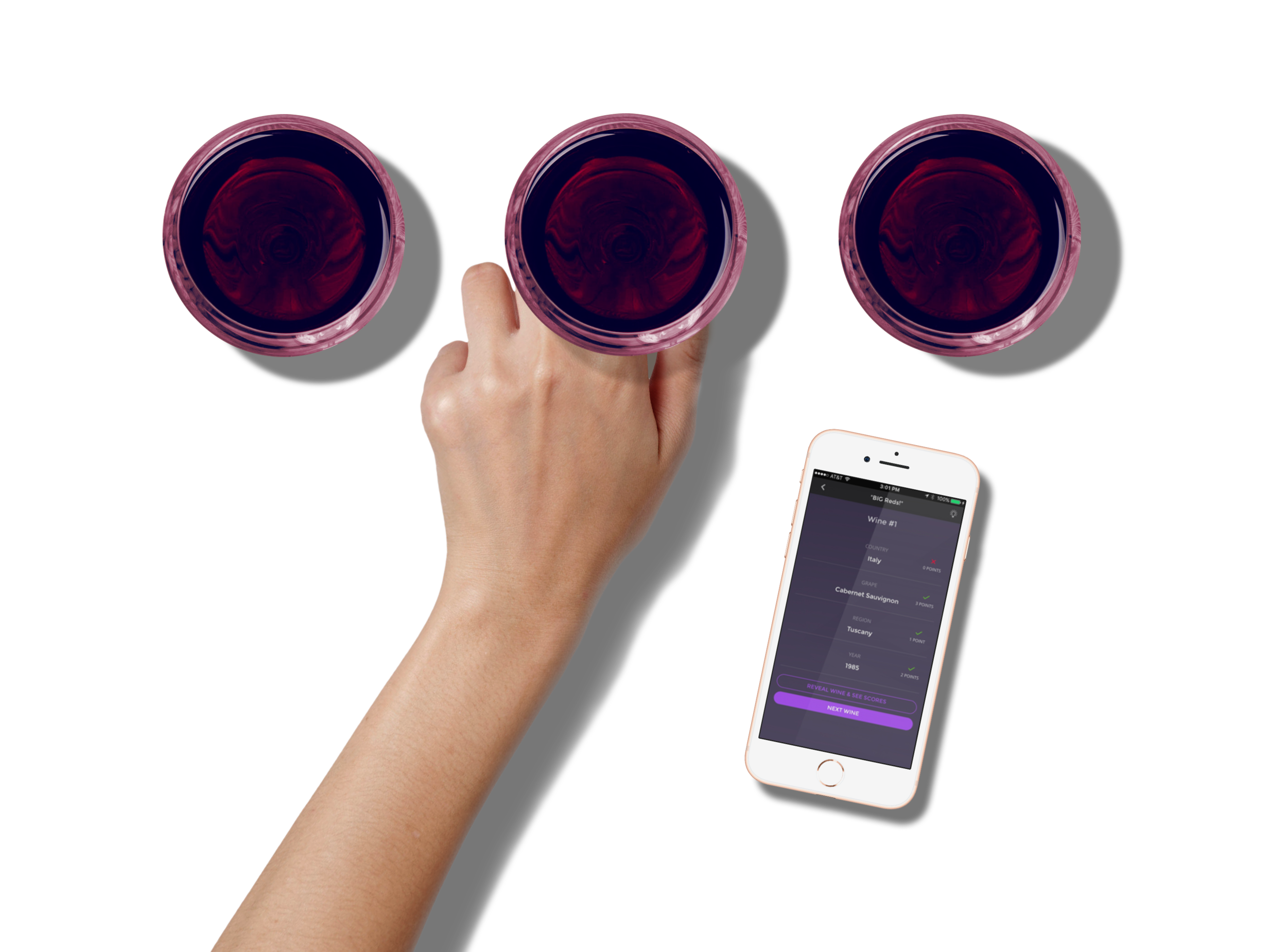 3 glasses and hand with app jpg