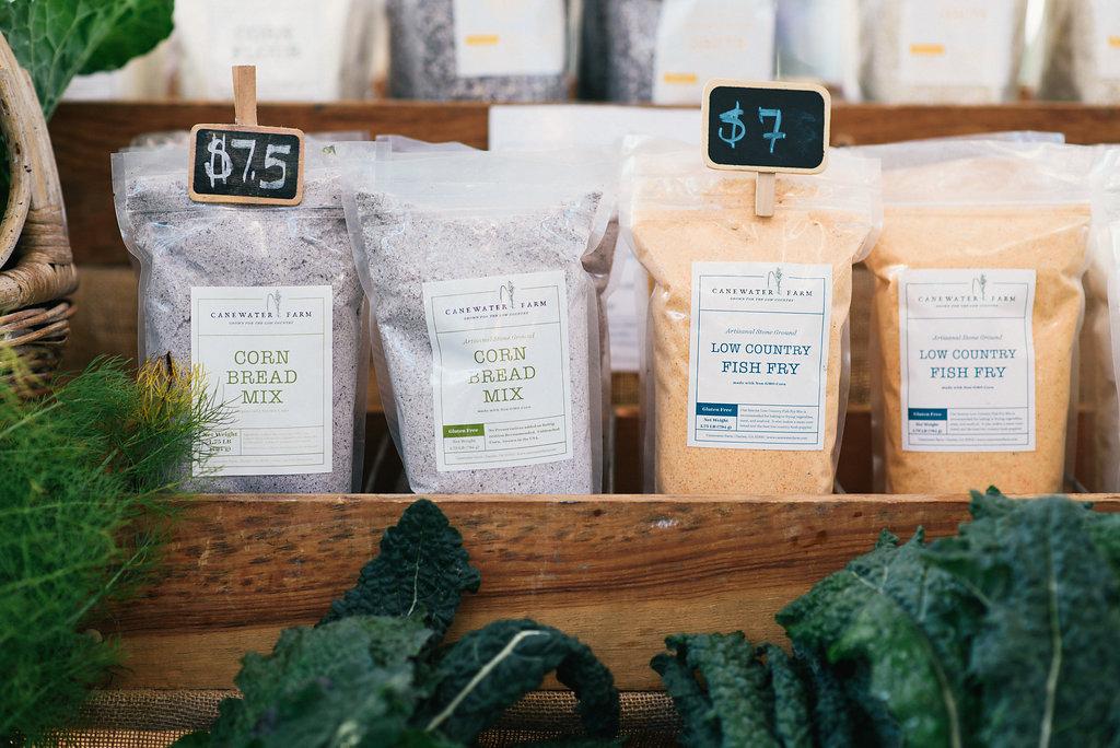Canewater Farm Grains  Polenta, $6  Grits, cornbread mix, fish fry mix, $7