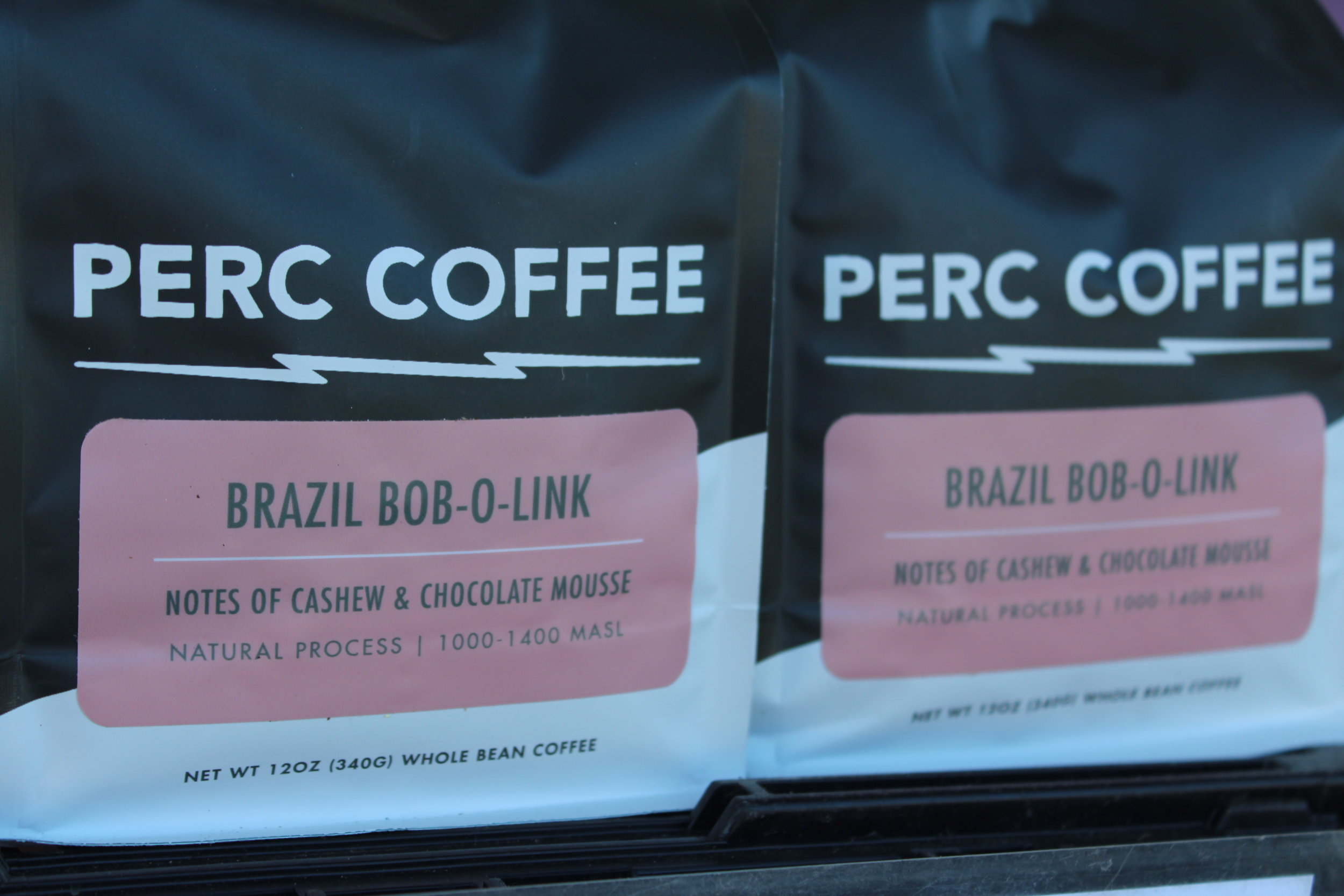 Bob-O-Link PERC Coffee, $12  12oz, notes of cashew & chocolate mousse, whole bean coffee