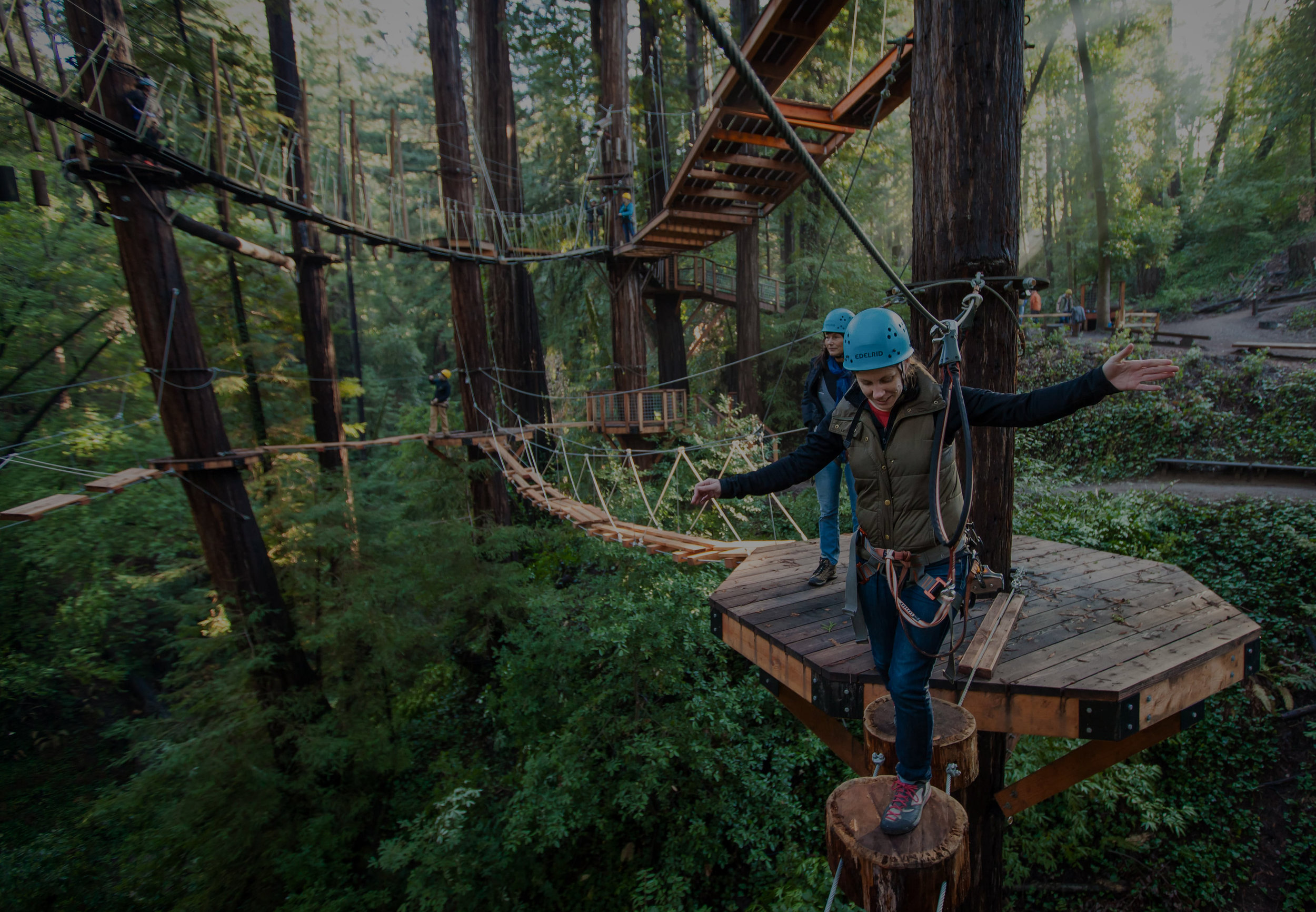"""<font size=""""4"""">ADVENTURE PARKS</font><strong>Composed of high elements, obstacles, high vistas, bridges and zip lines.</strong><a>LEARN MORE →</a>"""