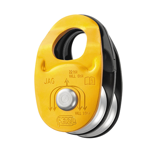 Petzl JAG Double Pulley - The JAG double pulley is designed for use with the JAG TRAXION double progress capture pulley to make a 4:1 haul system.