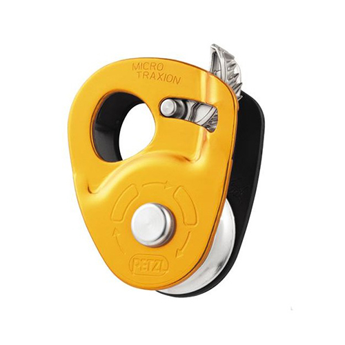 Petzl Micro Traxion - The Petzl Micro Traxion is an ultra-light, ultra-compact progress-capture pulley that is exceptionally efficient (91%) thanks to its sealed ball bearings.