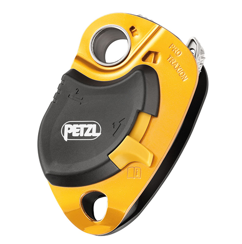 Petzl Pro Traxion Capture Pulley - The PRO TRAXION progress capture pulley was designed to allow rope installation while the pulley is connected to the anchor.