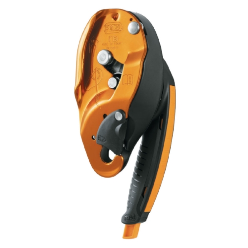 Petzl I'D S - Self-braking descender with anti-panic function, with multi-function handle that allows descent control, easier movement on inclined or horizontal terrain and positioning at the work station without the need to tie off the device.