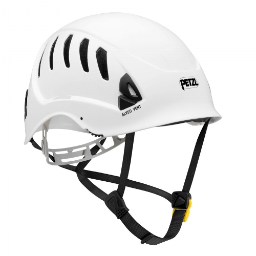 Petzl Alveo Vent Helmet - Ventilated helmet for work at height and rescue. Featuring a strong chinstrap, the Alveo Vent helmet is a very lightweight helmet for workers at height.