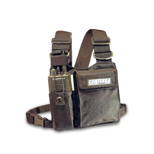Conterra Adjusta-Pro Chest Harness - Originally designed for ski patrols and mountain rescue, this one-size-fits-all radio harness will instantly adjust to hold any sized radio snugly to your chest without the use of multiple Velcro straps or buckles found on lesser quality harnesses.
