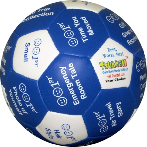 Best, Worst, First Thumball - This unique icebreaker ball stimulates conversations about player's best, worst or first life experiences. Great conversation starter and helps participants share stories.