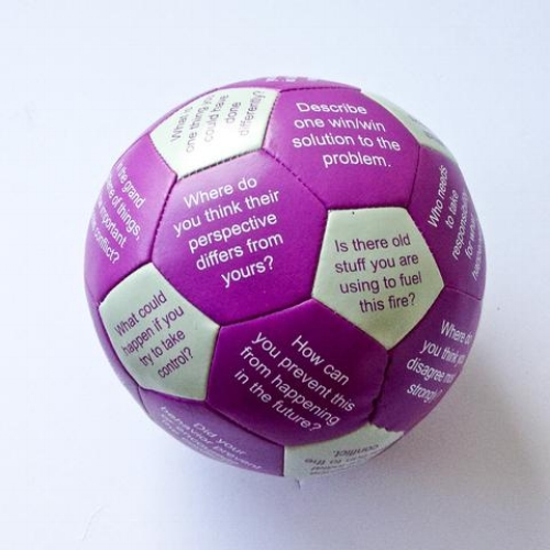 Conflict Resolution Thumball - Here is a truly unique tool to help organizations and individuals resolve a conflict. There are 32 different conflict resolution or peer mediation questions pre-printed on the panels of the ball.