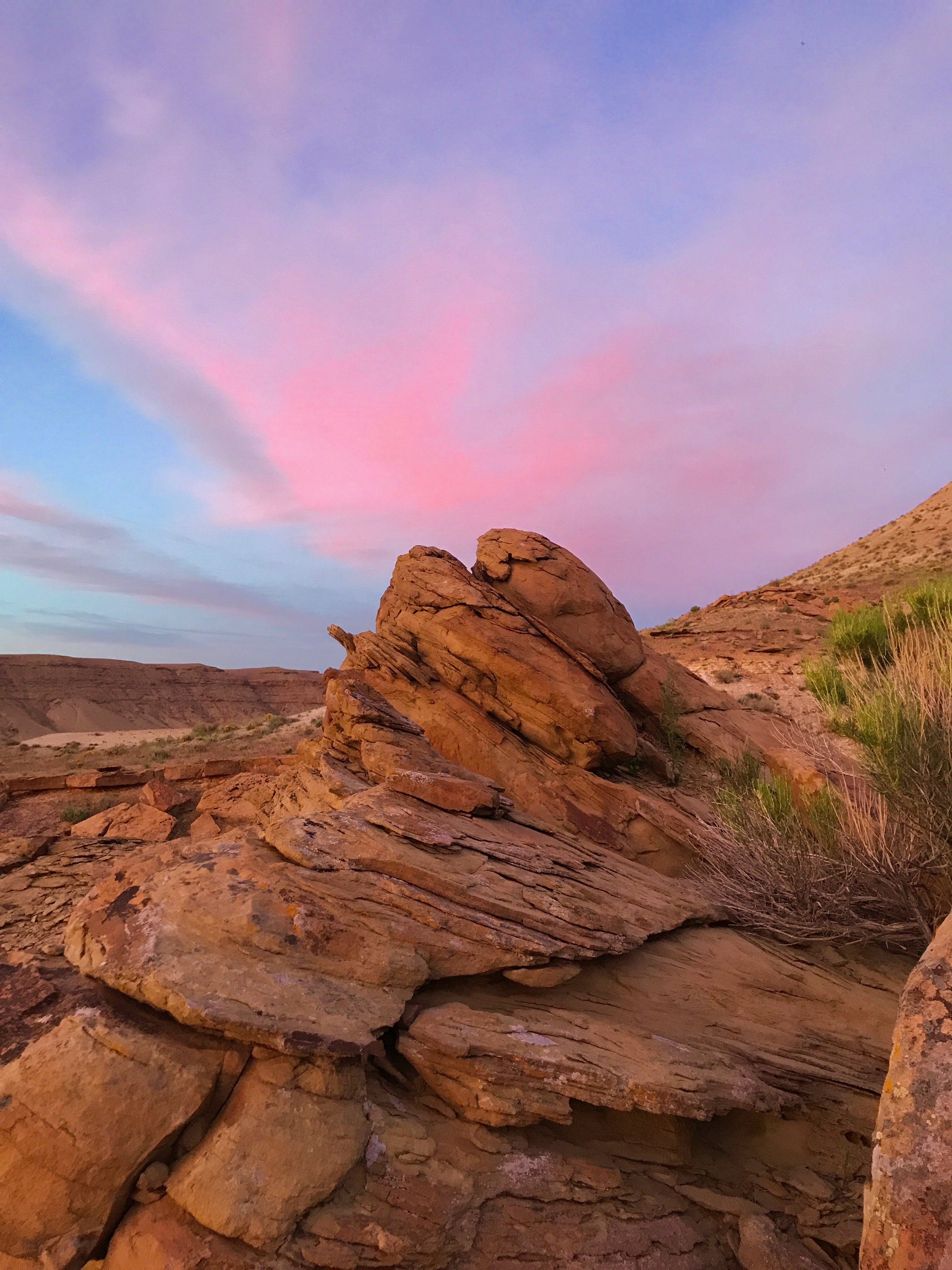 Sunset along the Green River, 9 miles upstream from Sand Wash Launch Point (John Parks/USGS)