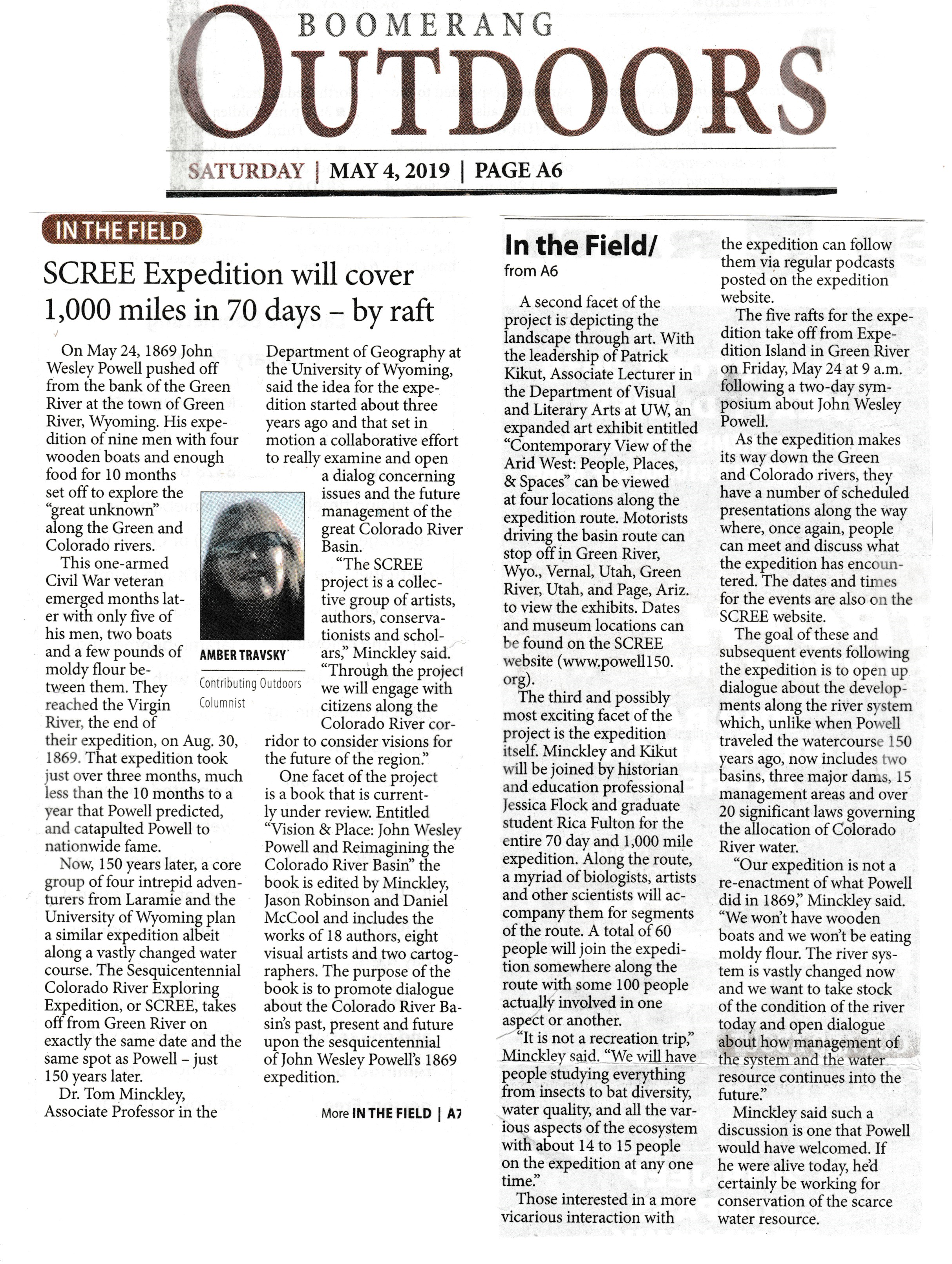 """""""SCREE Expedition will cover 1,000 miles in 70 days--by raft """" authored by Amber Travsky for the Laramie Boomerang, May 4, 2019."""