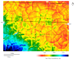 Cretaceous two-way traveltime map showing polygonal faulting, eastern Saskatchewan/western Manitoba