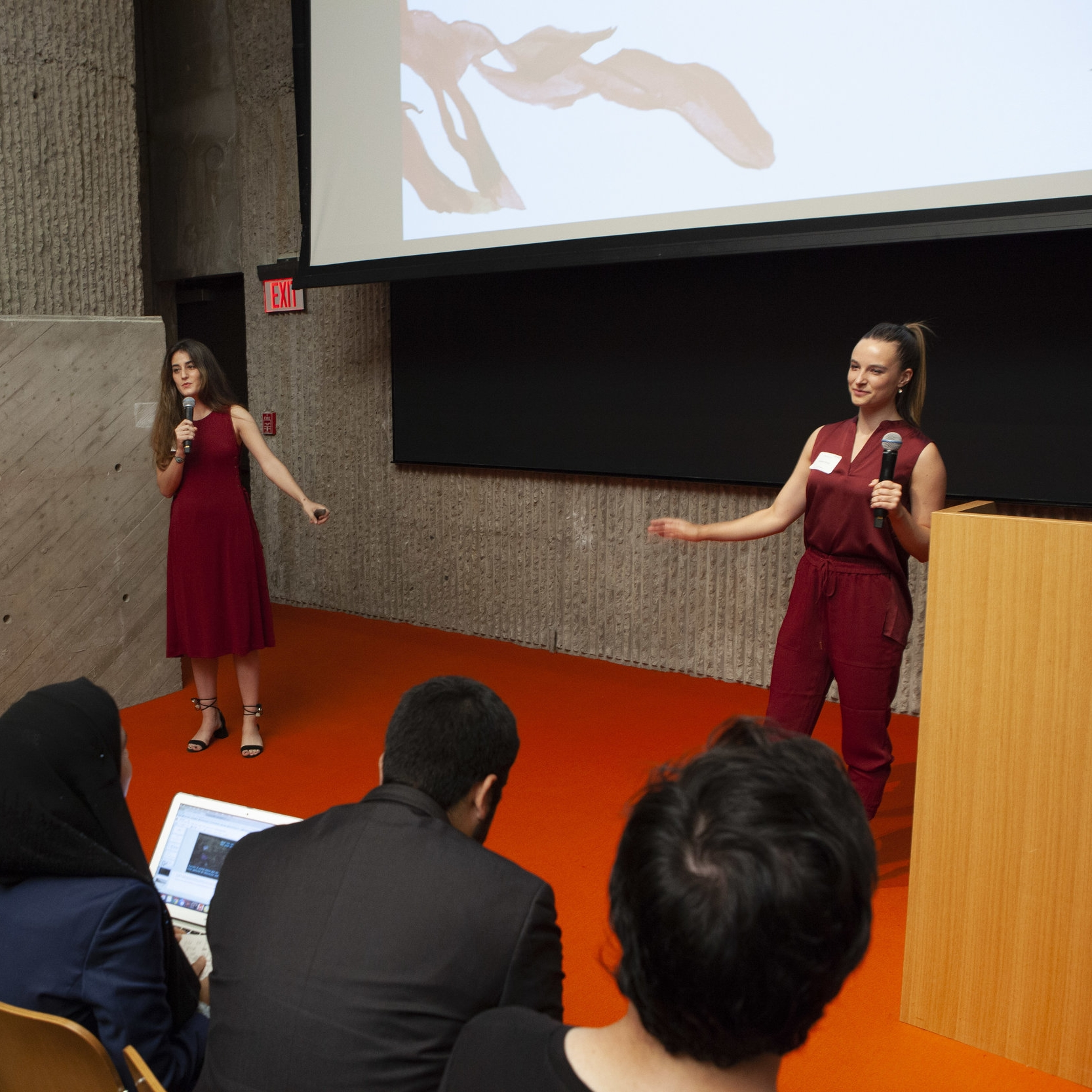 Two students pitching