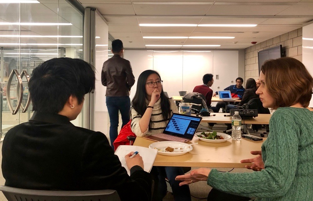 Margaret Cartiera, mentor-in-residence at CITY and Investment and Innovation Director at CBIT, works with students in a MedTech Accelerator session.