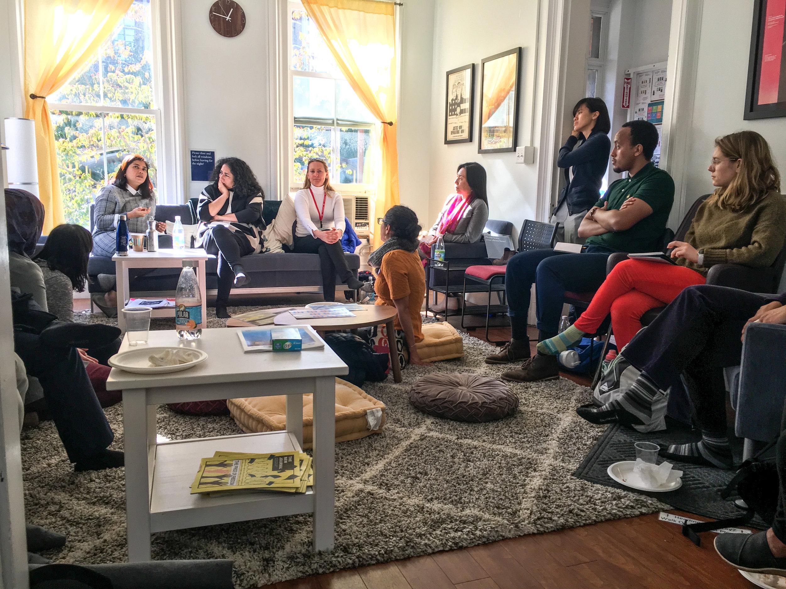 ElsaMarie D'Silva speaks at the Asian American Cultural Center.