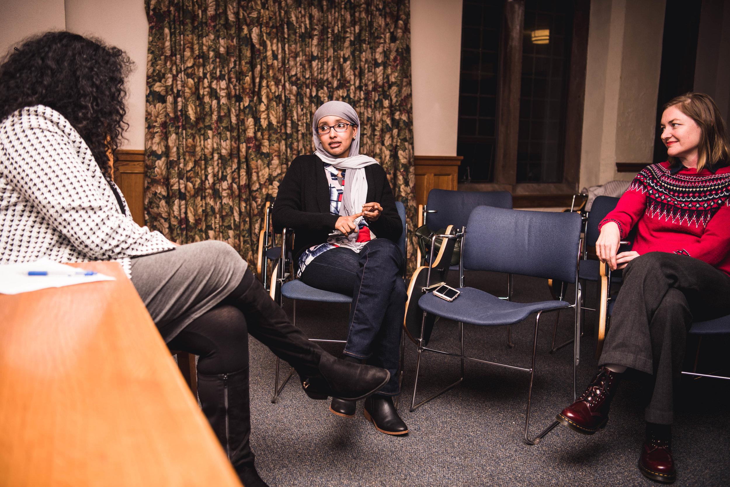 Baljeet Sandhu, Fauziya Ali, and Joy Olivier speak during a Global Innovation Series event.