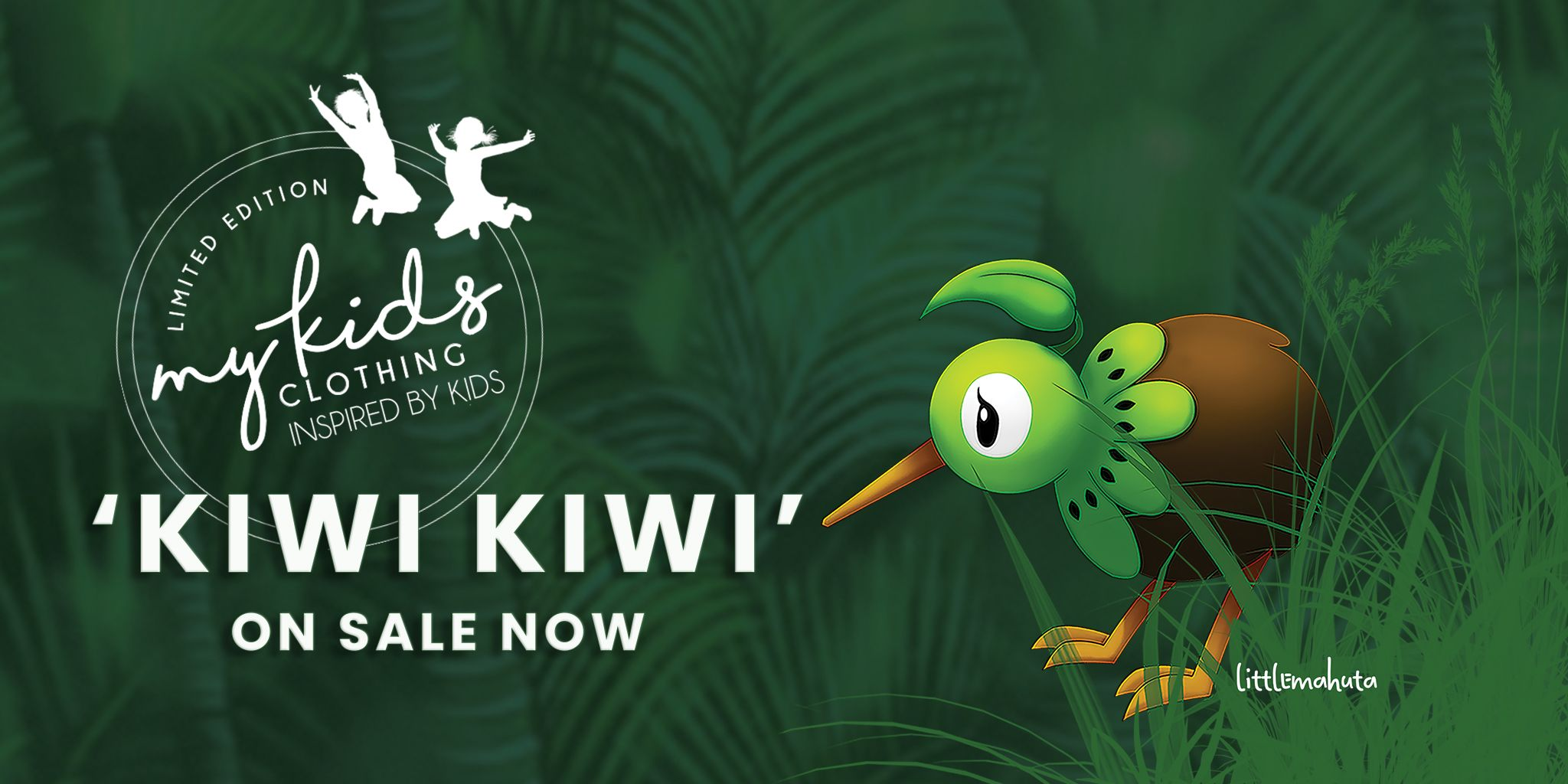 Littlemahuta has teamed up with My Kids Clothing to produce another addition to the 'Inspired By Kids' Line. You can purchase KiwiKiwi Tees by visiting   www.mykidsclothing.co.nz     Meet KiwiKiwi, a friendly little bird for our Kiwi Kids, made from a kiwi fruit. KiwiKiwi wanders our New Zealand Native Bush and is a friendly face for all those who he encounters. Our KiwiKiwi assures us that we are always in the right spot and that everyone he meets is welcome in our beautiful country.  A My Kids Clothing/Littlemahuta Collaboration. The newest addition to the 'Inspired by Kids' range.