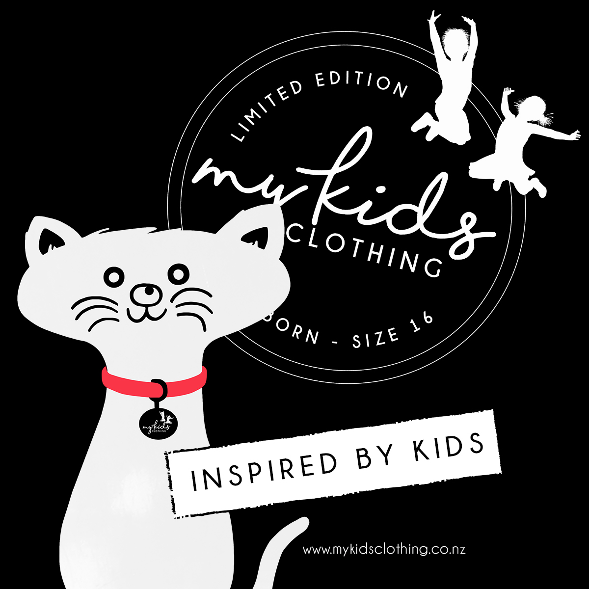 Cat-Tee - Front and Back Cat 'Inspired By Kids'Available in Sizes 2 - 16 www.mykidsclothing.co.nz