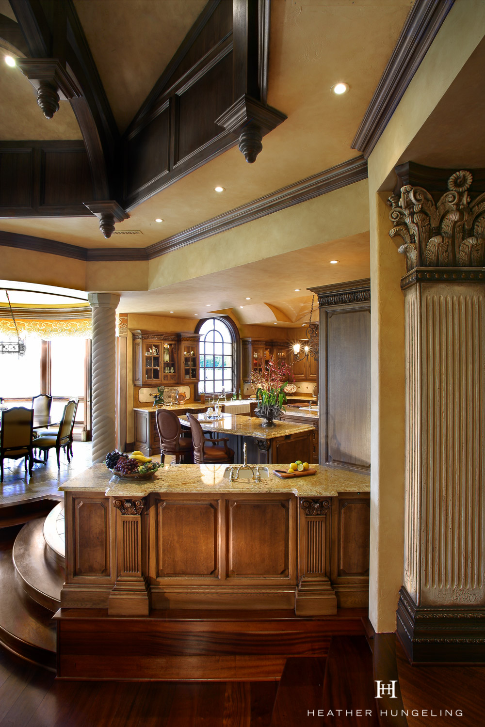 A bar area for guests keeps beverages easily accessible for entertaining