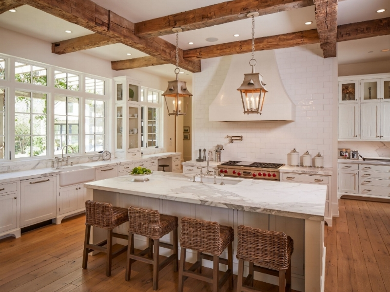 A dream kitchen always provides the user with lots of elbow room.  You can almost never have too much counter space - at least from a functional standpoint.  Source:  Thompson Custom Homes