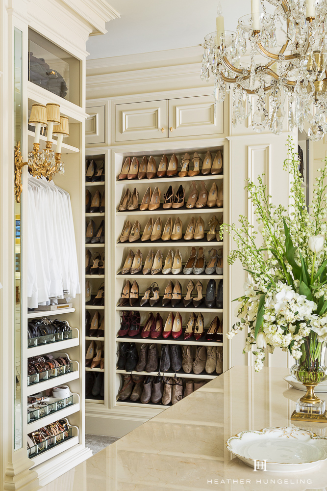 Shoes are a form of ART when you are designing a luxury closet! Use them as the eye candy that they are by displaying them on open shelves where you can enjoy them everyday. Get more of  My Top 10 Tips to Create the Perfect Luxury Closet .. Source: Hungeling Design.