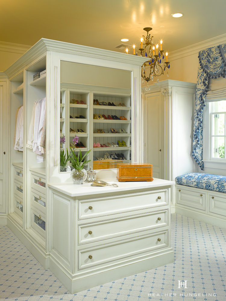 I believe that having a little counter space in any room is a requirement for comfort. Make sure to include it in your luxury closet as well. Get more of  My Top 10 Tips to Create the Perfect Luxury Closet .. Source: Hungeling Design