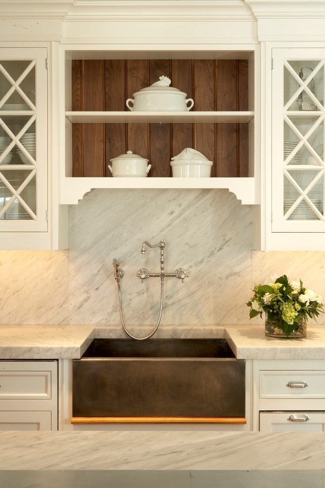How to Make Your Kitchen Beautiful with Pretty Cabinet Details, Part 1 (Cabinet Interiors).  A walnut beadboard interior looks crisp and tailored in this Christopher Peacock kitchen. #kitchencabinetdetails.