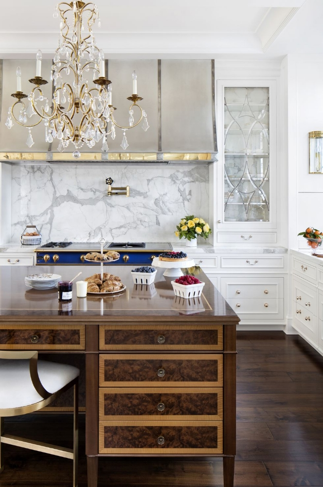 How to Make Your Kitchen Beautiful with Pretty Cabinet Details, Part 1 (Cabinet Interiors).  The movement of the grey & white marble continues behind the leaded glass doors of these backless cabinets. #kitchencabinetdetails.