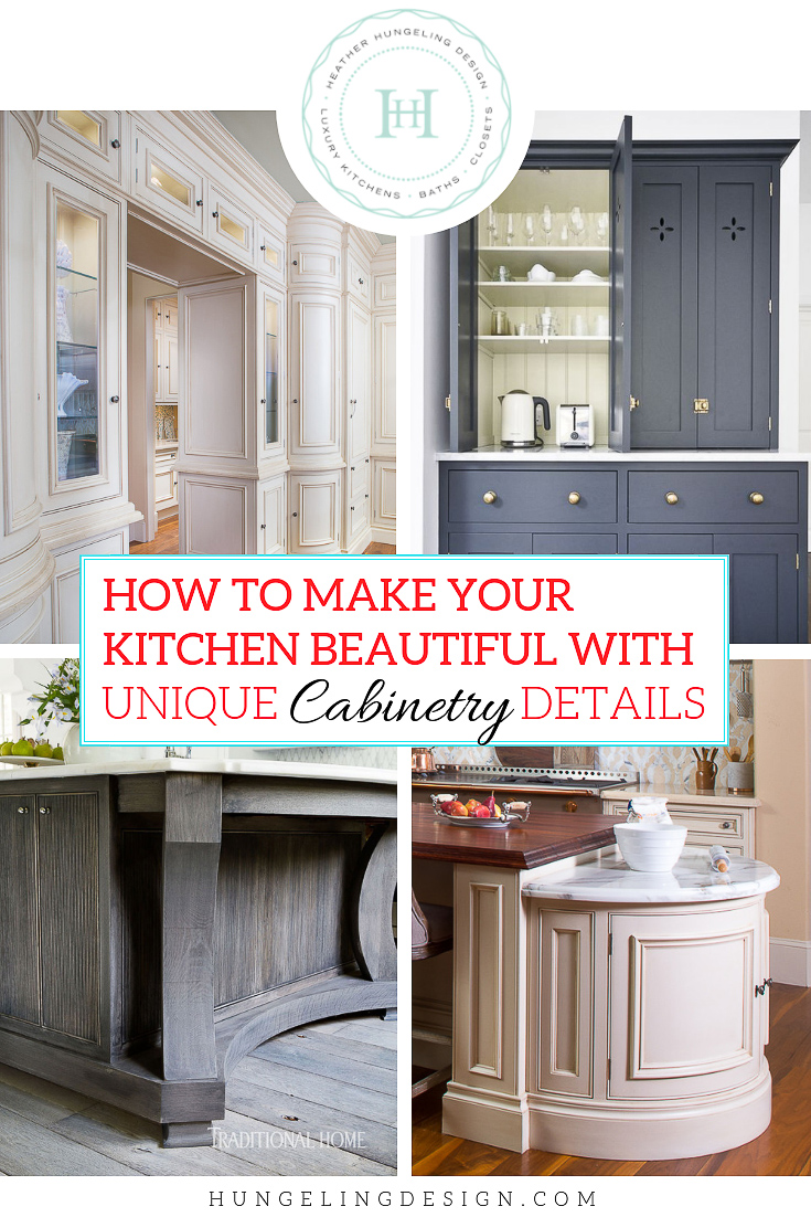 The final post in this 3-part series focuses on pretty details and unique cabinet door styles that you can use to infuse some needed character into your kitchen design.  #cabinetdetails, #luxurykitchens, #kitchendesign