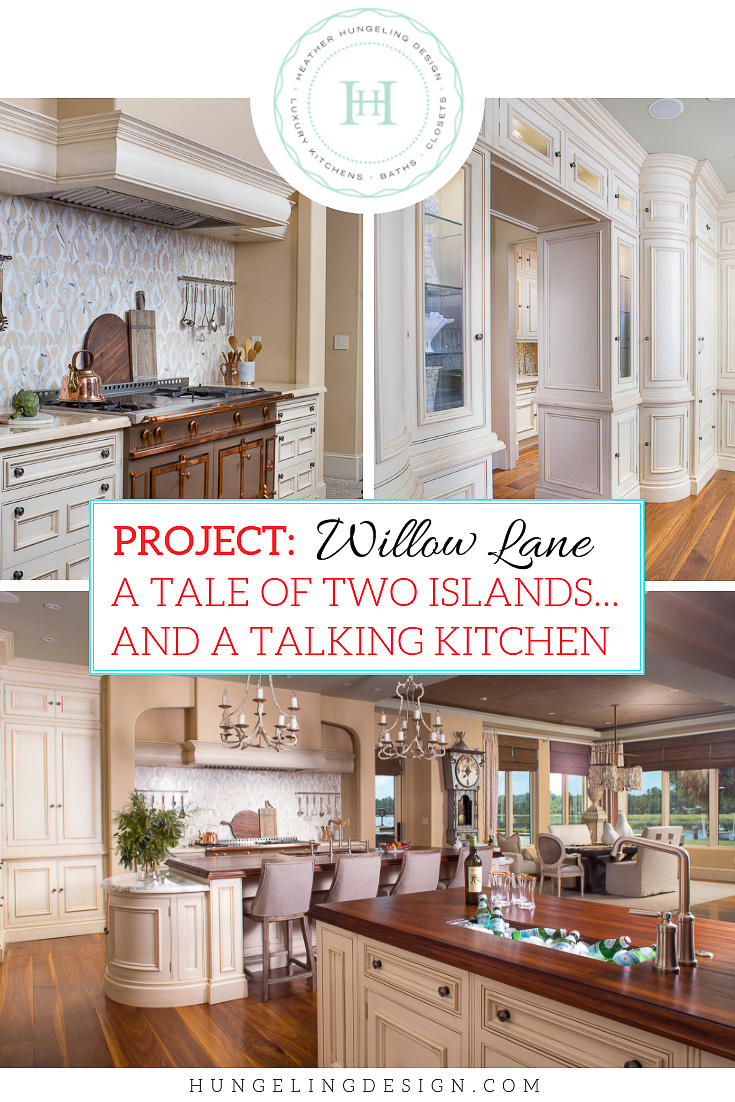"I've always felt that rooms ""talk"" to us. They tell us what they want to be. In this project reveal, I'm going to show you how I used a quirky feature of this room to create a  double island kitchen  which solved a major problem with the home's layout.  #luxurykitchens, #luxurykitchendesigner, #doubleislands, #kitchenlayout"