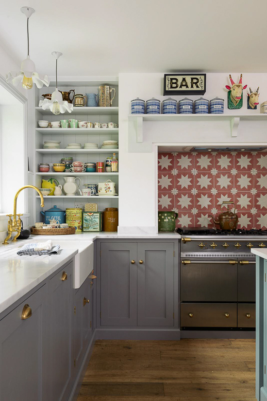 "This cute little kitchen by DeVol epitomizes what I think of when I hear someone say ""Country English kitchen."" With a simple mantle shelf above the range, and lots of nooks and crannies for display."