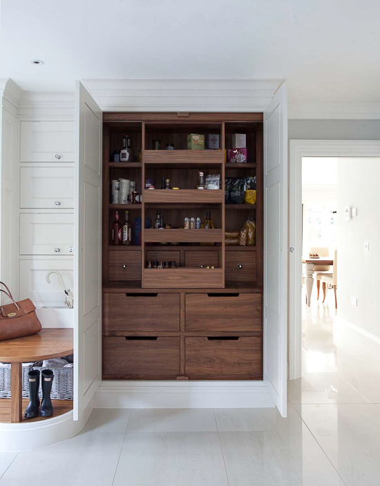 A highly functional, organized larder is a must-have for the average English kitchen. Even with our walk-in pantries here in the U.S., the larder cabinet is still a nice added feature. It offers better organization than your typical pantry closet and can be located closer to the cooking area for storing the most essential items.