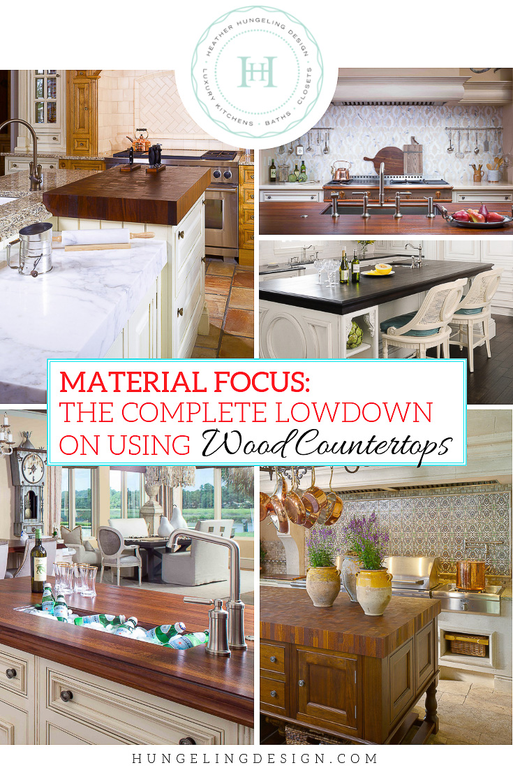 While I love using marble and quartzite in the kitchens that I design, I believe that wood countertops are a valuable companion material and an important counter-balance to using a lot of natural stone. The bespoke character that wood counters brings to a design is hard to beat. Find out everything you need to know about using this incredibly practical material in your next kitchen. #woodcountertops, #luxurykitchens, #kitchendesign