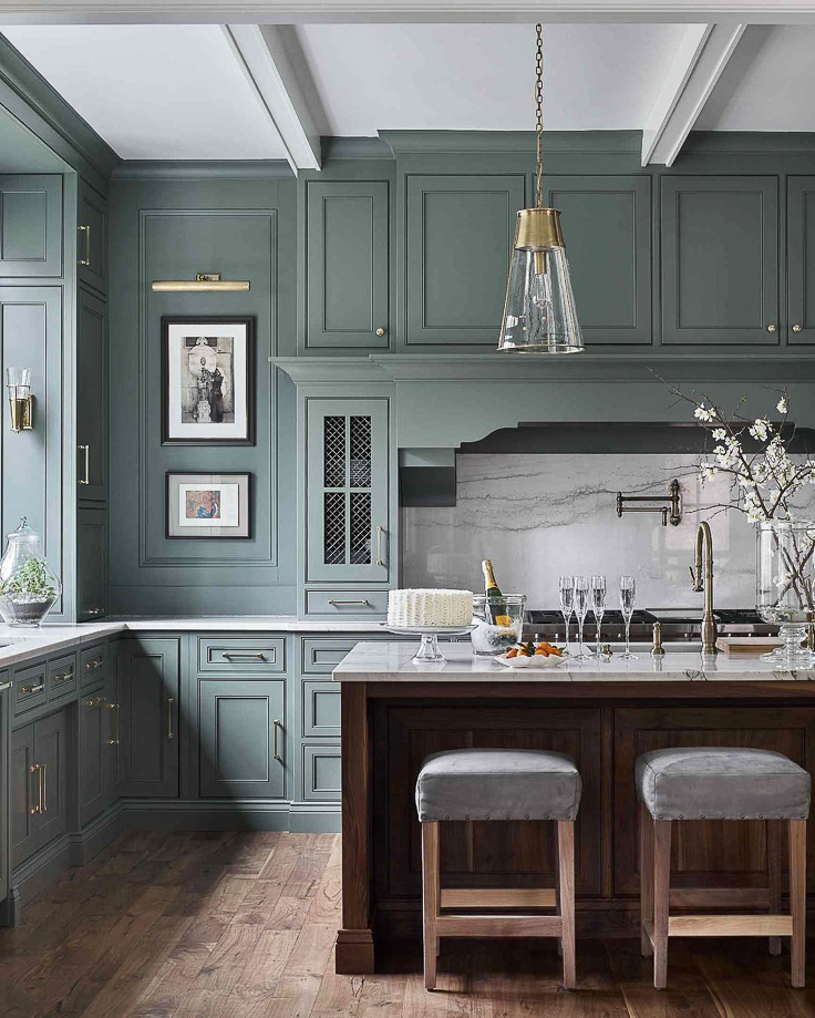 "Green is moving in as the new neutral for 2019. While some blues will still be around, green kitchens are suddenly on the ""It"" list.  Kitchen Trends 2019 . #kitchentrends, #luxurykitchens, #kitchendesignideas"