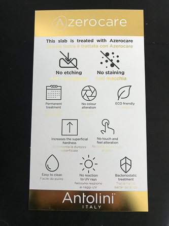 Antolini's Azerocare marble for kitchen countertops. Just look for the distinctive gold tag when you go to your local distributor.