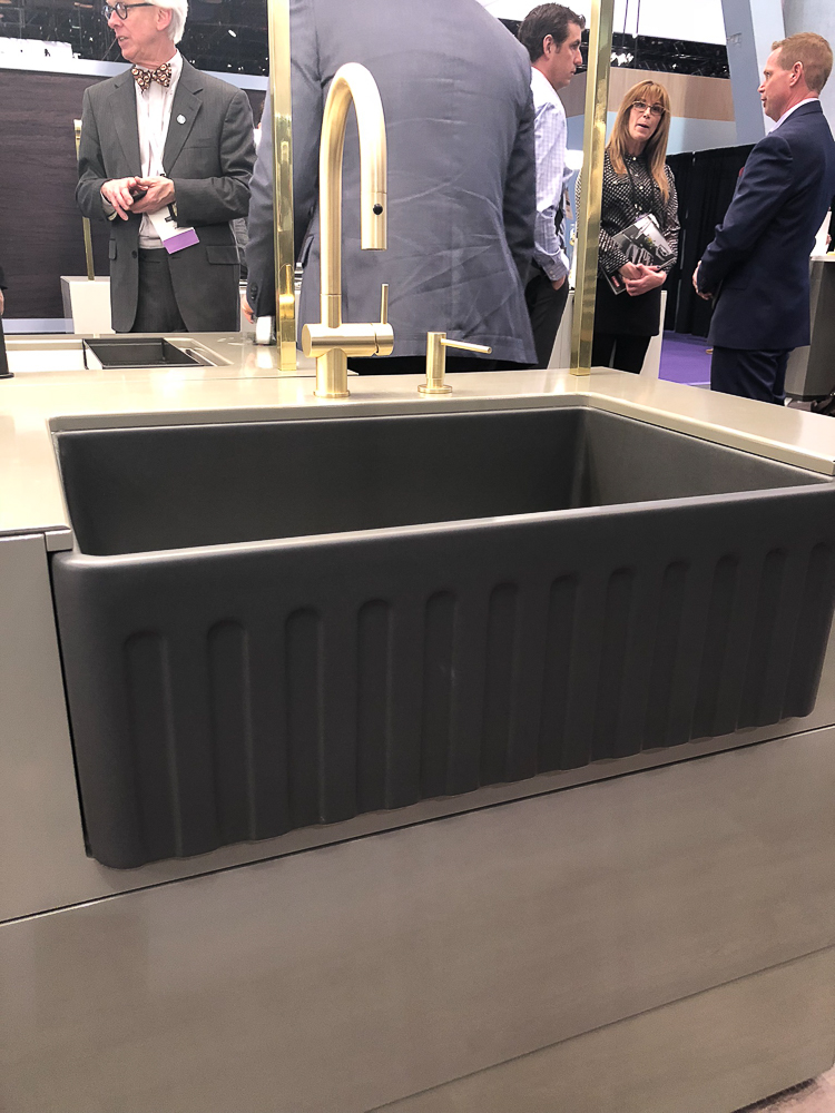 Another new kitchen product introduction for 2019 is the Franke reversible, fluted apron front sink. Also available in white and bisque in three sizes.
