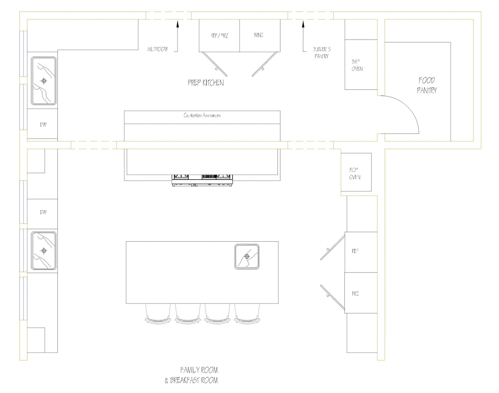 "Here's a sample prep kitchen layout to give you a little inspirational nudge. By positioning everything as I have done, you'll have a concealed place to set out your countertop appliances, plus a food pantry in close proximity to your main kitchen. Also, with the addition of a wine cooler and a 36"" wide wall oven, you now have an ideal place to serve as a caterer's kitchen.  #kitchendesign #luxurykitchendesigner #butlerspantryideas #kitchenlayouts"