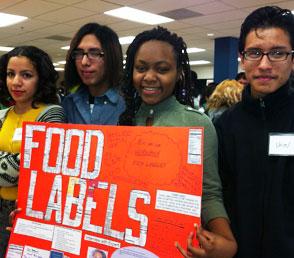 Cynthia, Ernesto, Wysdom and Uriel present on food labels.